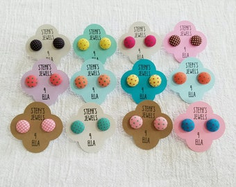 Polka Dot Fabric-Covered Button Earrings Variety of Colors Available