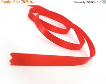 """ON SALE Red Satin Ribbon 3/8"""" for gift packaging or crafting - 25 yards (75 feet)"""