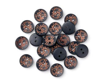 6 black wooden button - brown flowers pattern 15mm (BB120FB)