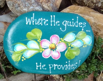 Hand Painted Idaho Rock-Acrylic Original,Pink & Teal Daisy, Inspirational-Paper Weight-Shelf sitter-Turquoise