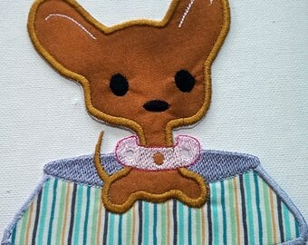Iron On Chihuahua Patch/ applique, Chihuahua embroidered applique patch
