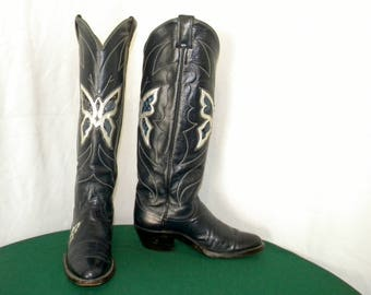 Vintage 1970s Sz 7b Justin Cowboy Boots Butterfly Inlay Snakeskin Blue Leather Tall Knee high Women Western Rodeo Cowboy Boots.