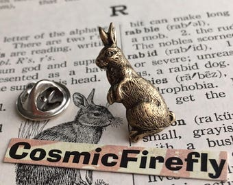 Rabbit Tie Tack Pin Antiqued Brass Bunny Tie Tack Gothic Victorian Vintage Inspired