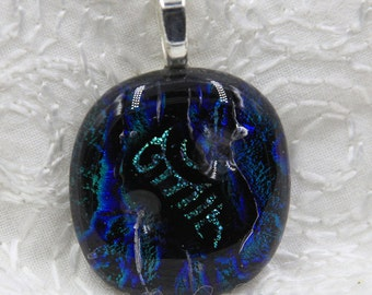 Tapestry Fused Dichroic Glass Pendant