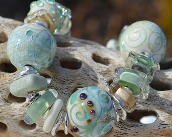 Reserve for Patrice-WATERCOLORS-Handmade Lampwork and Sterling Silver Bracelet