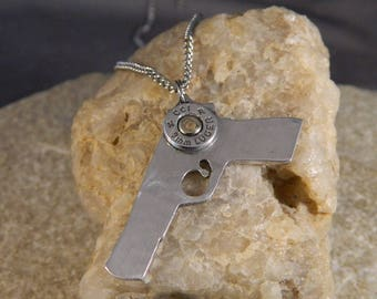 Pistol Packin Mama Hand Cut Pistol Necklace with 9mm Luger