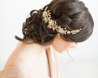 Gold Bridal Headpiece, Wedding Hair Comb, Bridal Crystal Headpiece,  Gold Leaf Hair Comb, Gold bridal Vine