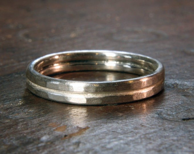 Recycled sterling silver textured double band 4mm wide wedding ring. Hand made in the UK.
