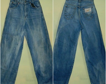 W 25 L 31 60s 70s Hippie Distressed High Waist Jeans Wide Leg Simpson Jeans Woodstock Elephant Bell Bottom Jeans