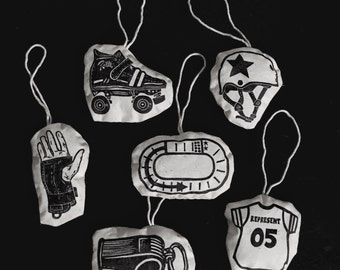 ON SALE NOW!!! Set of 6 Block Printed Plush Roller Derby Ornaments. Skate, Helmet, Jersey, Whistle, Wrist Guard, Track