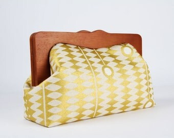 Clutch purse with wooden frame - Kuki to tane in gold - Cosmetic purse / Japanese fabric / Metallic gold white linen blend