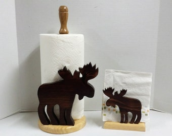 Moose Napkin and Paper Towel Holder/Gift Set/Kitchen/Kitchen Decoratiions/Woodland Theme Kitchen Decor/Moose Theme/Housewarming Gift/Moose