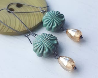 dewdrop - earrings - vintage lucite and sterling silver - oxidized silver - verdigris - gold glass bead