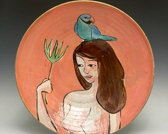 Tropical Bird In Paradise; Nude Figure Holding Palm Frond; Wheel Thrown; Stoneware Serving Bowl