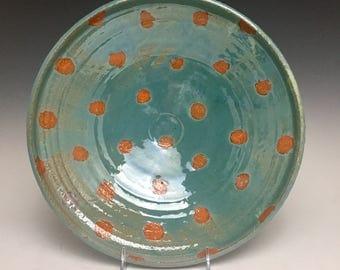 Bright Orange Sun Dots; Serving Bowl; Contemporary Design; Functional Fine Art
