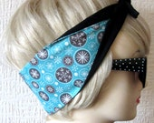 Snowflake Rockabilly Hair Tie Head Scarf in Blue by Dolly Cool, Holidays, Xmas, Christmas, Atomic