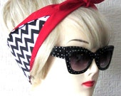 Twin Peaks Red Room Hair Tie Rockabilly Head Scarf by Dolly Cool Zig Zag Chevron Damn Fine