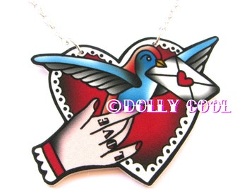Swallow Sweetheart Necklace by Dolly Cool 40s 50s Reproduction Vintage Style Novelty WW2