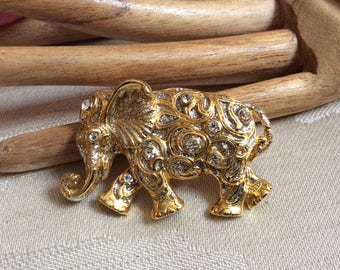 Vintage clear crystals elephant brooch pin, swirling pattern rhinestones goldtone elephant pin, elephant brooch pin