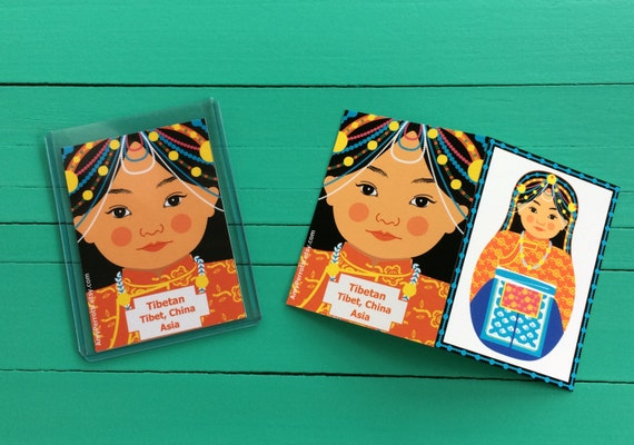 Tibetan Artist Trading Card ATC with culturally traditional dress drawn in a Russian matryoshka nesting doll shape
