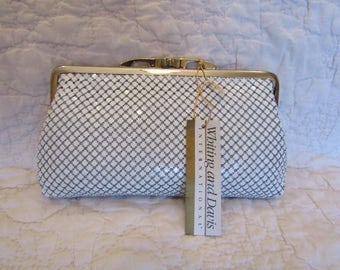 New Vintage Whiting and Davis Clutch Purse White Mesh with original tag