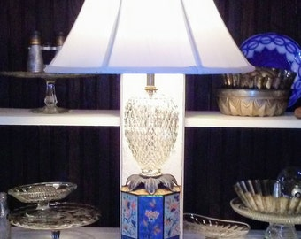 Lotus Blossum Upcycled Tin Can Lamp with Faceted Glass