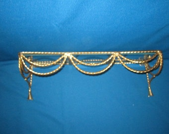Reserved for Gary...Vintage Beautiful Ornate Cast Brass and Glass Wall Hanging Shelf