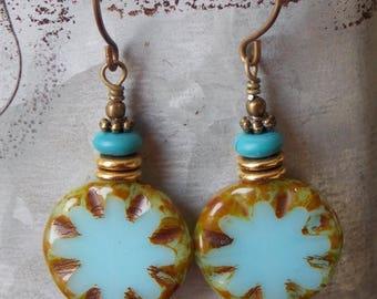 Sale Bohemian Czech Glass Earrings Turquoise Blue Brass Beachy Boho Earrings Dangle Textured Drop Earrings Jewelry Rustic Woodland Earrings