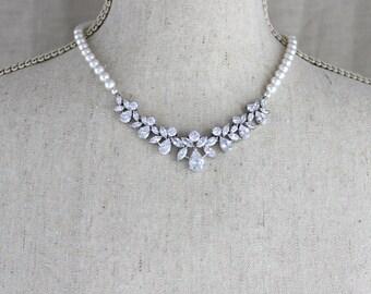 Crystal Bridal Necklace, Rose Gold Wedding necklace, Wedding jewelry, Pearl necklace, Crystal necklace, Swarovski necklace, Bridal Jewelry