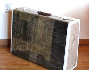 Upcycled Suitcase Samsonite Decoupage Luggage Storage