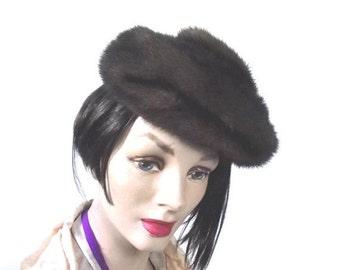 Sale 50s Fur Hat Mink Tam Vintage Bonwit Teller Amrose Hat Beret Sz M