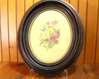 Antique Floral Print in Oval Antique Walnut Picture Frame