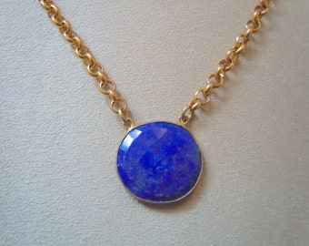 Laurel -- Lapis and 14K Gold Filled Chain Focal Pendant necklace