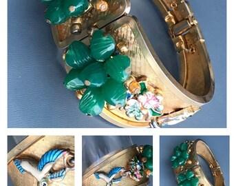 WIDE Vintage Hinged Bangle . Enamel Birds . Costume jewelry