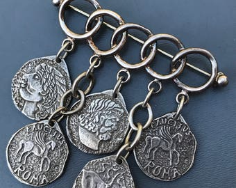 Vintage Sterling  Pin . Brooch . Brooches . Roma . Roman . Medival Faux Coin jewelry