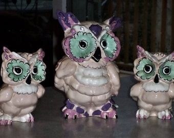 trio Kay Finch California Pottery Hoot Tooties Toot OWLS three mcm turquoise lavender mod owl figurines