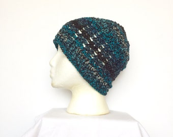 Lacy Skullcap Beanie Hat in Black and Turquois, ready to ship.