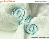 Closing shop Turquoise Scarf Slide or Napkin Ring - Aluminum Diamond Cut Wire in Turquoise, Coiled Scarf Ring