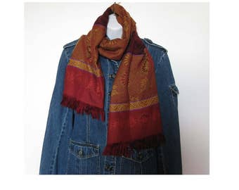 Vintage 90s burgundy gold HIPPIE BOHO scarf -  hipster scarf -  birthday gift - womens accessories