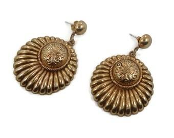 "Big Gold Earrings, Boho Earrings, Big Statement, Vintage Pierced, Bohemian, Large Dangle, Vintage Jewelry, Ethnic Tribal, 2"" Long"