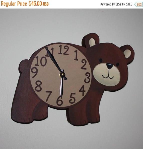 Spring SALE Brown Bear Woodland Forest Friends Animal Wooden WALL CLOCK Kids Bedroom Baby Nursery Wc0079
