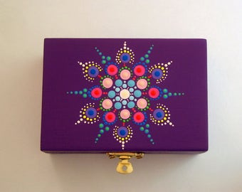OOAK 3D mandala dot art-summer-purple gift under 50-wood jewelry storage stash box-hand painted wooden trinket box-pointillism-yoga art-neon