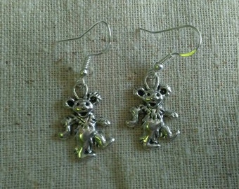 Simple Dancing Bear Silver Earrings Grateful dead