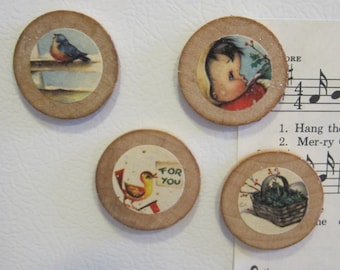 Set of 4 Sweet Vintage Style Round Wooden Magnets in a Tin for Christmas LITTLE GIRL