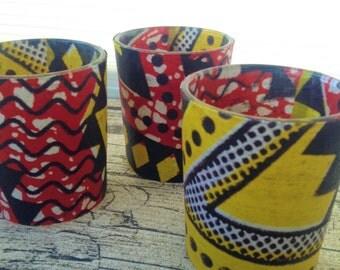 Tribal table decor, Decor table tribal, Tribal table decor, Decor tribal table, African wax print candle x 3