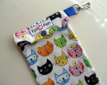 CLEARANCE Epi Pen Case Clear Pocket with Metal Swivel Clip Holds Allergy Auto Injector Pen ID Card Included - 3 Sizes Colorful Cartoon Cats
