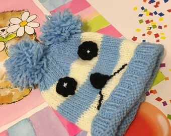 READY TO SHIP      Handmade Knit Animal Baby Hat/Baby Boys/Pink/Ivory/Acrylic        Size Newborn to 6 months