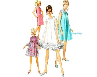 1960s Retro GoGo Dress Pattern Simplicity 7340 Vintage Sleeveless Sheath or Tent Dress with Feather Trim, Uncut