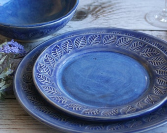Modern Rustic Dinnerware Place Setting Handmade Ceramic Stoneware Blue on Blue Three Piece Rustic Place Setting Made in USA Ready to ship
