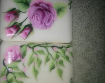 Hand Painted Soap Boxed Set of Soaps with Pink Roses